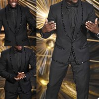 Designer Crystal Beading Men Customized Wedding Tuxedos Red Carpet Groom Wear Dinner Prom Party Blazer (Jacket+Pants)