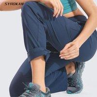 Pantaloni da escursionismo leggero da donna Syrokan Zipper Pantaloni da viaggio casual a mezzogiorno con tasche con cerniera-32 pollici1