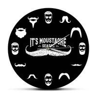 Beard And Mustache Barber Shop Hipster Mens Season Funny Wall Clock Sign Decorative Silent Movement Watch Clocks