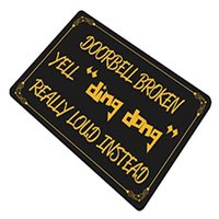 Carpets Doorbell Broken Yell Ding Dong Really Loud Instead Funny Doormat Black Background Floor Mat With Non-Slip Backing Bath Rug E