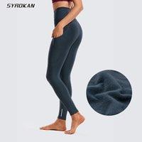 Leggings allineati in pile di Syrokan Fleece Pantaloni da yoga ad alta vita a vita alta con tasche-28 pollici