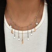 Gold Farbe Choker Halskette für Frauen 1 Schichten Sterne Monde Anhänger Kette Halsketten Anhänger Velvet Chokers Modeschmuck