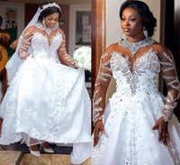 2021 Luxury Sexy A Line Wedding Dresses Bridal Gowns Long Sleeves Jewel Neck African Plus Size Tulle Sweep Train Custom Made Handmade Flowers Crystal Beads Ball Gown