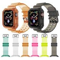 Uhrband Kristall Klar Weiche Silikonsportriemen Kompatibel mit Apple Watch TPU 42mm / 44mm Armband Band Strap für iWatch Series SE / 6/5/4/3/2