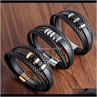 Charm Jewelrykimter Mens Leather Bracelet With Stainless Steel Magnetic Clasp Braided Rope Wrap Fashion Multilayer Bracelets Bangle Q271Fz Dr