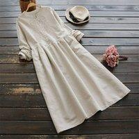 2021 Осенние вышивка длинные рубашки платье занзеа винтажные повседневные хлопковые льняные Vestidos женщин с длинным рукавом Sundress кафтан плюс размер