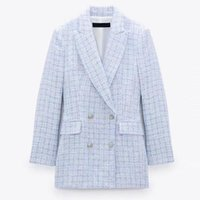 Women's Suits & Blazers Nice Spring Autumn Women Vintage Plaid Tweed Blazer Coat Chic Button Office Lady Suit Jacket Casual Outwear Tops