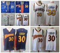 Jersey rétro classique Golden # 132; État n ° 132; guerriers # 132; Distribution 30 Stephen # 132; Curry Navy Blanc Blanc Basketball Jerseys
