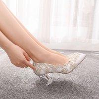 Zapatos de vestir Sapatos Transparreses De Salto Alto Quadrado, Sapatos Festa Luxuoso 7cm Em CETIM Com Cristais, Rainha, Natal, à Noite Fxth