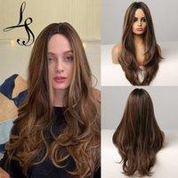 Perruques synthétiques brunes ondulées de LANS LAND longues bruns avec blonde Perruques de cosplay pour femmes Afro Femmes Perruques de cheveux naturels résistants à la chaleur résistant à la chaleur