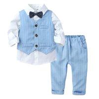 Roupas de meninos ternos criança crianças casamento festa formal listrado 1-5 anos bebê chapéu colete camisa calça crianças menino outerwear