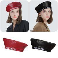 Beanies For Women Girls Octagonal Embroidery Letter Beret Hat Sboy Cap PU Painter