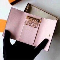 الجملة مفتاح محفظة للرجال أعلى جودة متعدد الألوان جلدية قصيرة محفظة سيدة ستة حامل رئيسية النساء الرجال الكلاسيكية سستة الجيب مفتاح سلسلة
