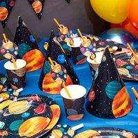 Sitio de vajilla desechable Suministros para el astronauta Suministros para el astronauta Tazas de papel Tazas Placas Natoria Caja de pastel de caramelo Feliz cumpleaños Banner Boutting