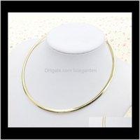 Chokers Halsketten Anhänger Drop Lieferung 2021 Einfache runde Kreis Drehmomente für Frauen Damen Metall Gold Sier Wire Halskette Kragen Choker Fash