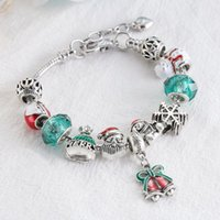 Link, Chain 2021 Christmas Crystal Bracelet Green Beads Bells Pendant Original Inlay Women Bracelets Fashion Jewelry For Party Gifts