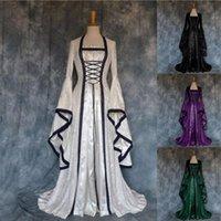 Abiti casual Abito di Halloween Donne Donne European Medioeval Retro Court Principalizzatore Cosplay Costume lungo Elegante strega quadrato Collare quadrato Vestidos