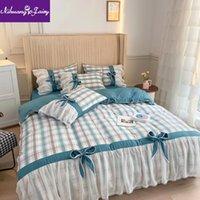 Bettwäsche-Sets 2021 Frühlingsstil Schlafzimmer Nylon Seide Baumwolle vierteilige koreanische Spitze Chiffon Bug Steppdecke Bettwäsche Kissenbezug