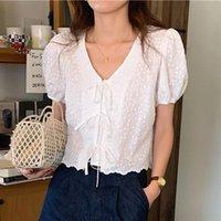 Women's Blouses & Shirts BETHQUENOY Chemise Femme Bandage Women Blusas Camisas Mujer White Black Summer Ladies Tops 2021 Bluzki Damskie