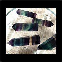 Arti e arti Artigianato Artigianato regali Giardino Drop Consegna 2021 Crystals Torre Quarzo Punti Al Quarzo Naturale Fluorite Arcobaleno Colore Stripe Point Reiki Crystal O
