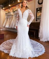 Luxury Long Trail Mermaid Wedding Dresses Bridal Gowns Full Sleeve Deep V Neck Open Backless Appliques Lace Robe De Mariage Custom Size