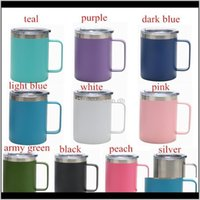 Stainless Steel 12Oz With Handle Sealing Lid Double Wall Insulated Tea Coffee Mugs Outdoor Beer Cup Owc2544 Lyemt Ewmug