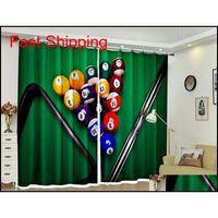 Tenda personalizzata Blackout Tende Biliardo 3D Stampa Finestra Decorare Drappes per Living Bed Room Office El Wall Tapestry Wyk1c Slrkp