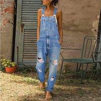 Jeans Semplice lavato e consumato le bretelle casual da donna