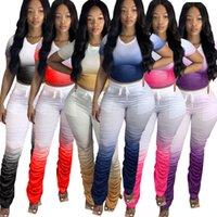 Mulheres Tracksuits Duas peças definir gradient cor manga curta plissada split micro chifre longa calças se adapta senhoras novas roupas moda 2020