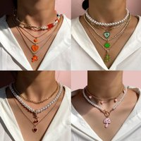 Chains Flatfoosie Multilayer Pearl Choker Enamel Heart Pendant Necklace For Women Fashion Bear Metal Clavicle Chain Jewelry