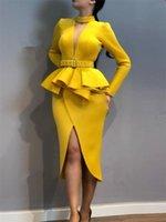 Kadınlar ince elbise ile bel kemeri peplum yarık uzun kollu ofis bayan moda zarif sahte iki parça giymek şık giysiler setleri