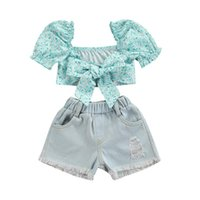 Summer Toddler Baby Girls 2PCS Outfits Suit Floral Printing Puff Short Sleeve Crop Tops+ Ripped Denim Shorts Infant Kids Clothes Clothing Se