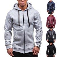 Zip Up Hooded Sweatshirts Hoodies Jackets Men Solid Color Fleece Coat Casual Tracksuit Sportwear Outerwear