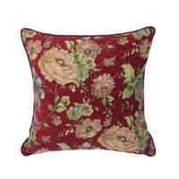 Estilo do campo Vintage Estilo Escuro Vermelho Flor El Interior Chenille Fronha Caso Sofá Capa de Almofada Floral Throwpillow 45x45cm Almofada / Decorativa