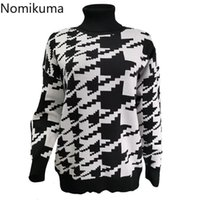 Nomikuma xadrez Turtleneck Camisola Mulheres Casual Vintage Manga Longa Pullovers Jumpers Chic Retro Tops Sueter Mujer 3E103 Camisolas das Mulheres