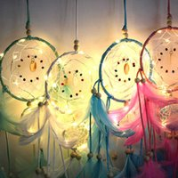 حلم الفن الديكور اليدوية أدى أضواء حلم الماسك ريشة المنزل الجدار شنقا المنتجات بالجملة الرياح الدقات