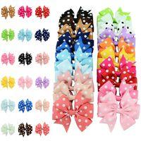 Kimter Dot Ribbon Band Bow Hair Clips Kids Teens Bowknot Cute Barrette Fashion Headwear for Girls Baby Hairpin Accessories Free DHL D494Q F