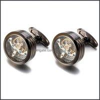 Cuff Links & Tie Clasps, Tacks Jewelryhigh Quality Movement Tourbillon For Mens Wedding Groom Mechanical Watch Steampunk Gear Cufflinks Relo