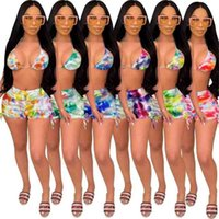 Summer Women's Swimsuit Floral Printed Bikini Suits Bra+Shorts Two-piece Causal Outfits Fashion Bathing Suit Ladies Swimwear gG57KY99