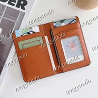 Luxury Compact Pocket Men's Women's Designer Fashion Card Holder Short Multiple Wallet Coin Bags Lychee Leather Embossed Letters Photo Folder Bag