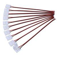 5PCS 8mm PCB FPC Ingen svetsanslutning med kabel för enkelfärg SMD3528 / 2835 LED-band Ljusanslutning till nätaggregatmoduler