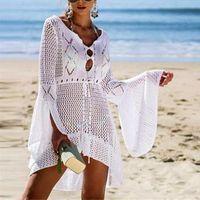 Women's Swimwear Menore Women Crochet Knitted Cover Up Dress Beach Tunic Long Pareos Bikini Bathing Suits Beachwears Robe Plage