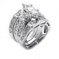 Choucong Deluxe Lovers Diamonique cz 14kt oro bianco riempito 3 anello nuziale set SZ 5-11 DFF1160
