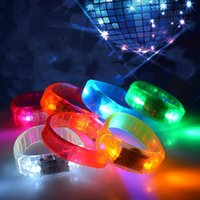 Music Activated Sound Control Led Flashing Bracelet Toy Light Up Bangle Wristband Festival Club Party Bar Cheer Luminous Hand Ring Glow Stick Night