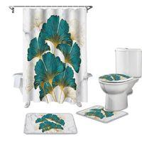Ginkgo Biloba Marble Texture Shower Curtain Set Carpet Cover Toilet Bath Mat Waterproof Bathroom Curtains