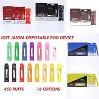 Original Iget Janna Disposable Pod E Cigarette Device 280mAh 1.6ml 450 Puffs Vape Stick Pen 16 Colors Option Vapes Authentic bang xxl Bar Plus Kit 100% xl 2021