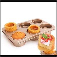 Platos para hornear sartenes 6 hoyos de la taza de la taza de la taza de la torta Molde nonstick Shortcake comestible alimento plato fabricante pan de postre cena cuencos mini muffin oduyh
