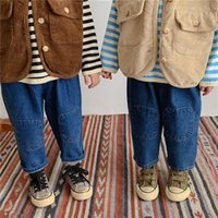 Jeans Autumn Winter Children Retro Patch 2-6 Years Kids Loose Casual All-match Denim Pants