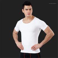 Mens Summer Fitness Tight Coat Round neck Short Sleeve Fashion Clothes Slim No Trace Breathable Abdomen Corset Thread Sculpt Males Clothes