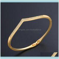 Bangle Bracelets Jewelrydesigners Lovers Love Women Aaa Super Zircon Double Row Diamond Temperament Thin Bracelet Aessories Brb27 Drop Deliv